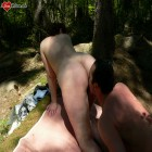 Horny mature slut fucking and sucking in the woods
