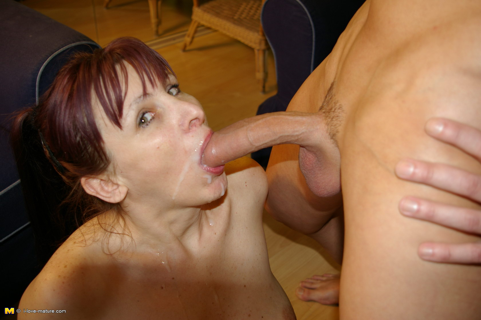 Slutty grandma sucks cock and gets a mouth full of cum 10