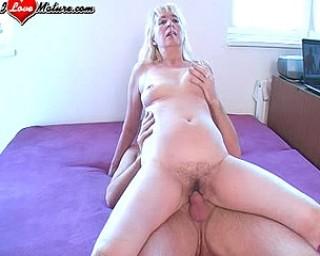 This blonde mature slut wants a hard cock