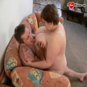 Chubby granny munching on cock