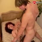 Red mature slut sucking and pumping