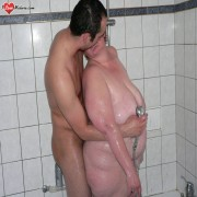 Horny tubby mature slut playing in the shower