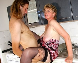 mama gets fucked in her kitchen