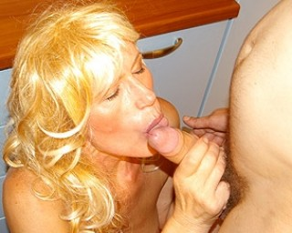 Blonde mature slut fucking and sucking all day long